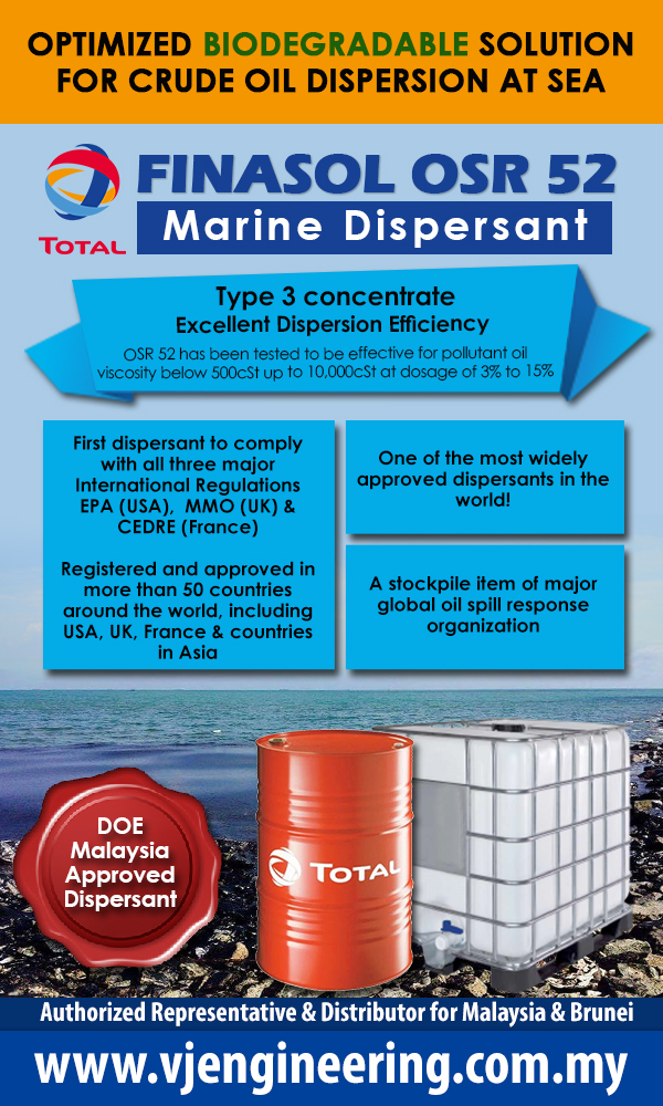 DOE Approved Dispersant Malaysia - Finasol OSR 52 Oil Dispersant Malaysia, Brunei, Biodegradable Dispersant Malaysia Brunei